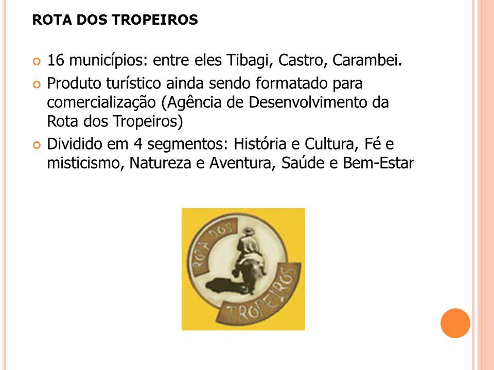 ROTA DOS TROPEIROS 16 municípios: entre eles Tibagi, Castro, Carambei. Produto turístico ainda sendo formatado para comercialização (Agência de Desenv