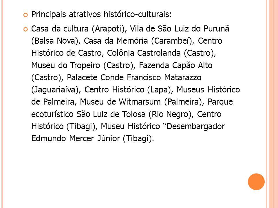 Principais atrativos histórico-culturais: Casa da cultura (Arapoti), Vila de São Luiz do Purunã (Balsa Nova), Casa da Memória (Carambeí), Centro Histó