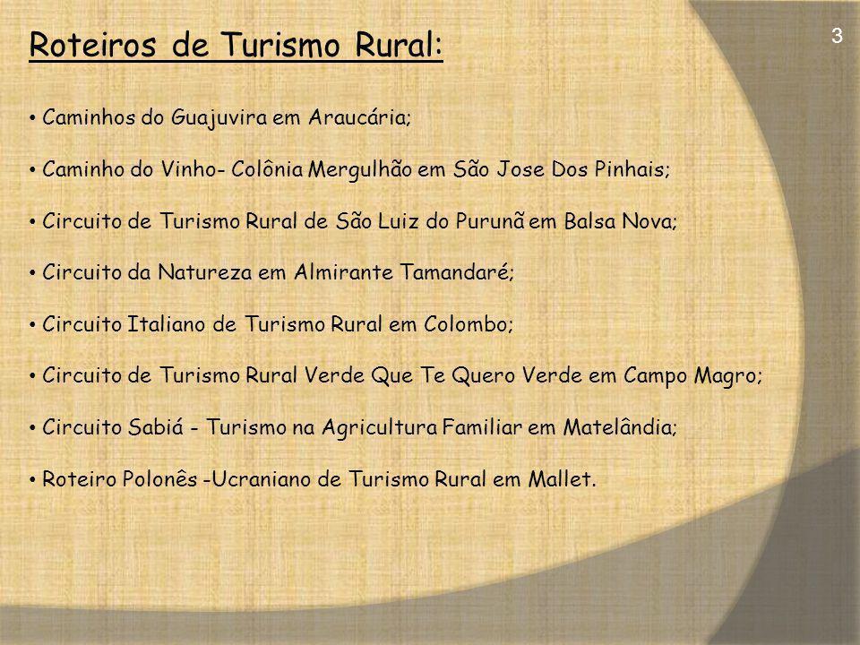 Roteiros de Turismo Rural: Caminhos do Guajuvira em Araucária; Caminho do Vinho- Colônia Mergulhão em São Jose Dos Pinhais; Circuito de Turismo Rural