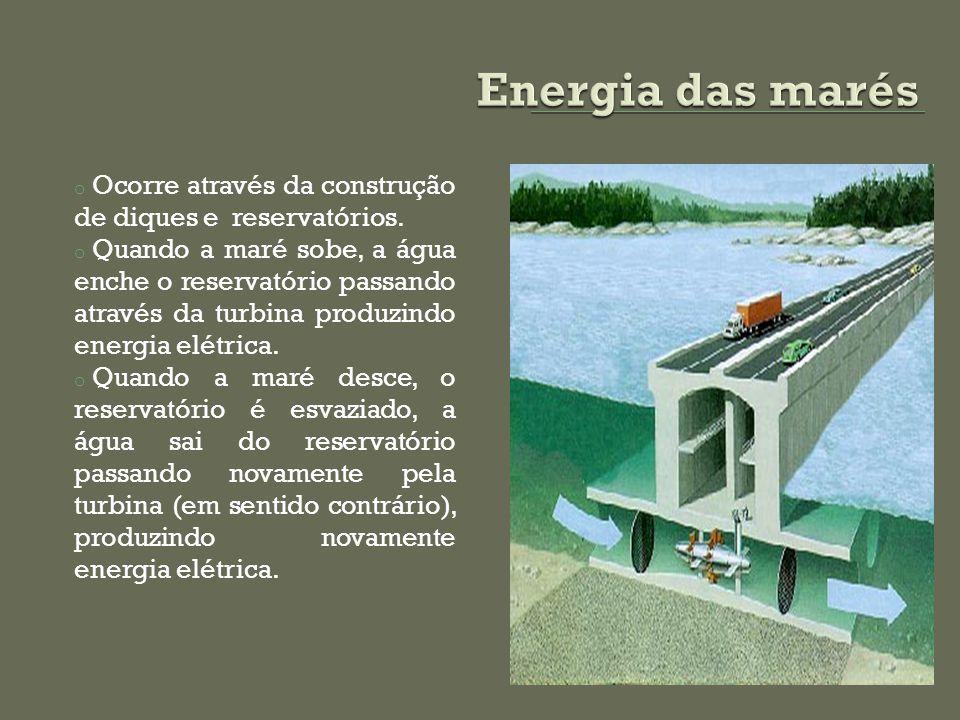 o Ocorre através da construção de diques e reservatórios. o Quando a maré sobe, a água enche o reservatório passando através da turbina produzindo ene