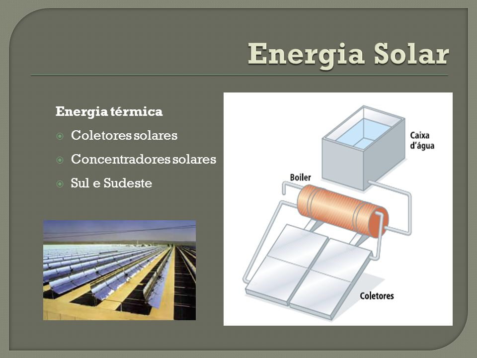 Energia térmica Coletores solares Concentradores solares Sul e Sudeste