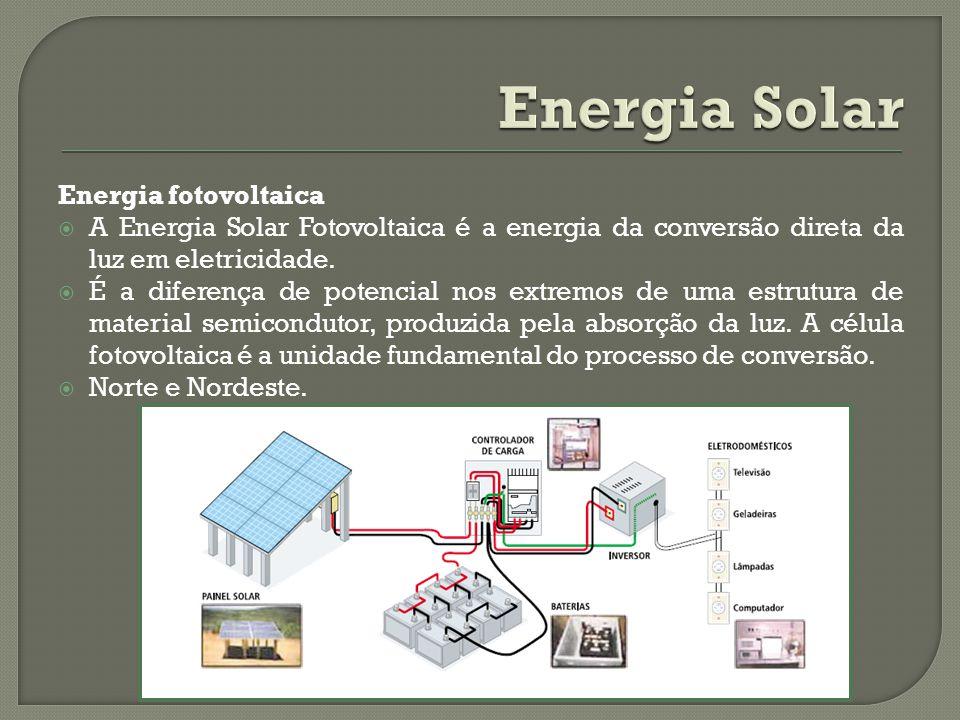 Energia fotovoltaica A Energia Solar Fotovoltaica é a energia da conversão direta da luz em eletricidade. É a diferença de potencial nos extremos de u