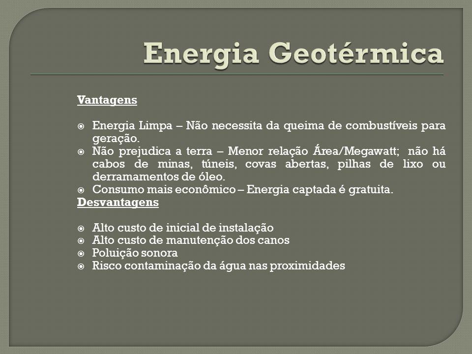 Vantagens Energia Limpa – Não necessita da queima de combustíveis para geração. Não prejudica a terra – Menor relação Área/Megawatt; não há cabos de m