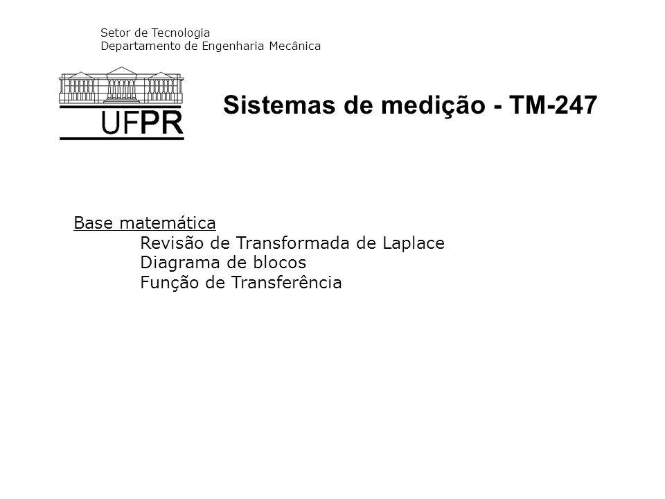 Setor de Tecnologia Departamento de Engenharia Mecânica Sistemas de medição - TM-247 Base matemática Revisão de Transformada de Laplace Diagrama de bl