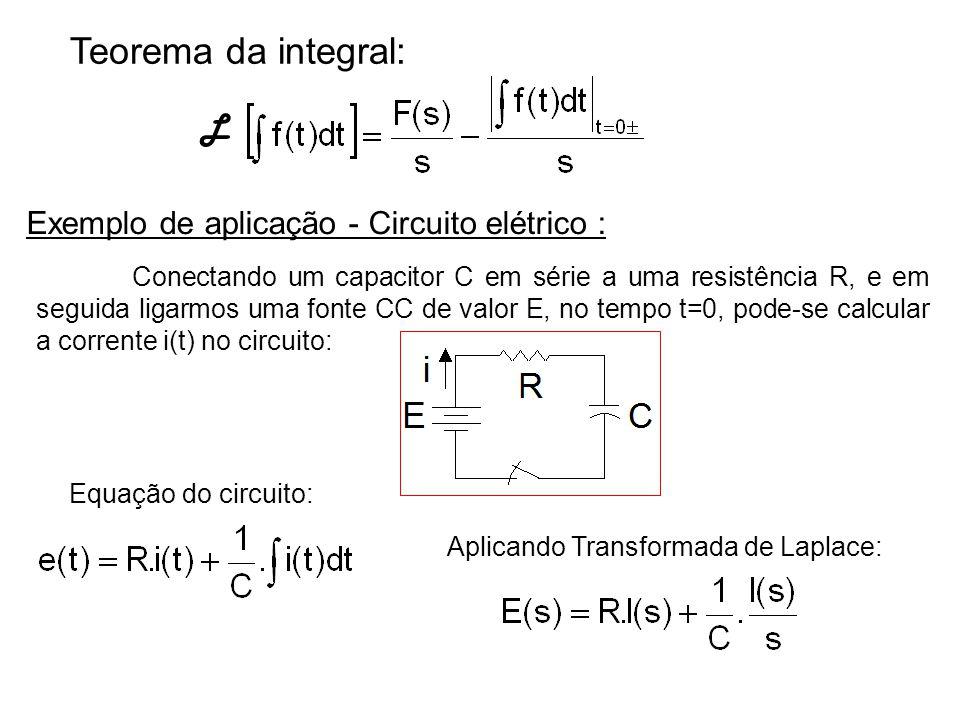 Teorema da integral: L Exemplo de aplicação - Circuito elétrico : Conectando um capacitor C em série a uma resistência R, e em seguida ligarmos uma fo