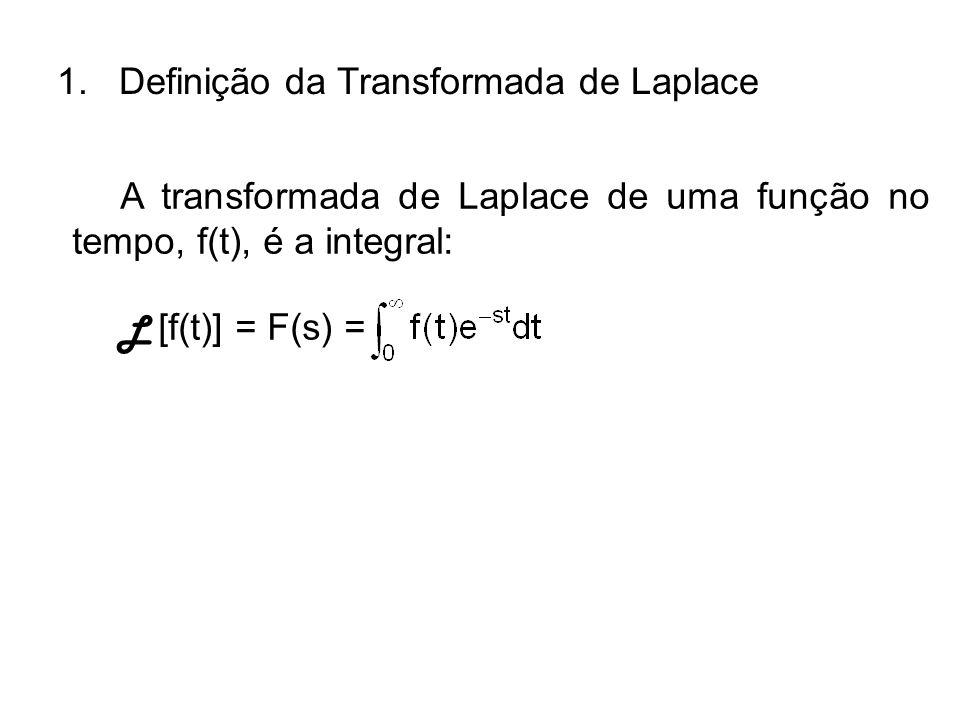 A transformada de Laplace de uma função no tempo, f(t), é a integral: L [f(t)] = F(s) = 1. Definição da Transformada de Laplace