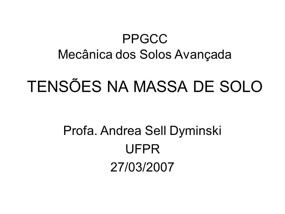 PPGCC Mecânica dos Solos Avançada TENSÕES NA MASSA DE SOLO Profa. Andrea Sell Dyminski UFPR 27/03/2007