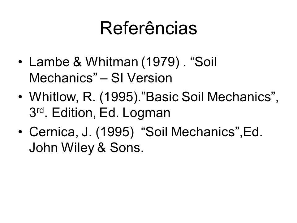 Referências Lambe & Whitman (1979). Soil Mechanics – SI Version Whitlow, R. (1995).Basic Soil Mechanics, 3 rd. Edition, Ed. Logman Cernica, J. (1995)
