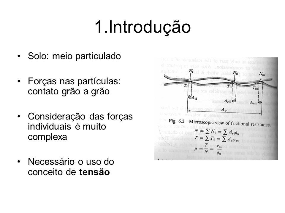 1.Introdução Solo: meio particulado Forças nas partículas: contato grão a grão Consideração das forças individuais é muito complexa Necessário o uso do conceito de tensão
