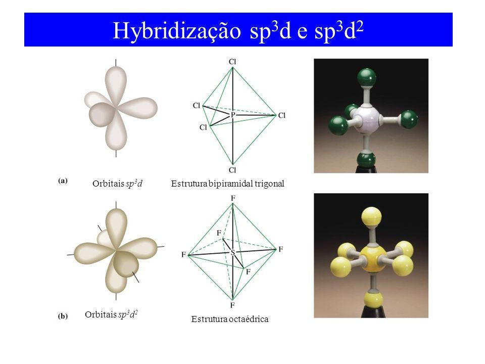 Hybridização sp 3 d e sp 3 d 2 Orbitais sp 3 d Orbitais sp 3 d 2 Estrutura bipiramidal trigonal Estrutura octaédrica