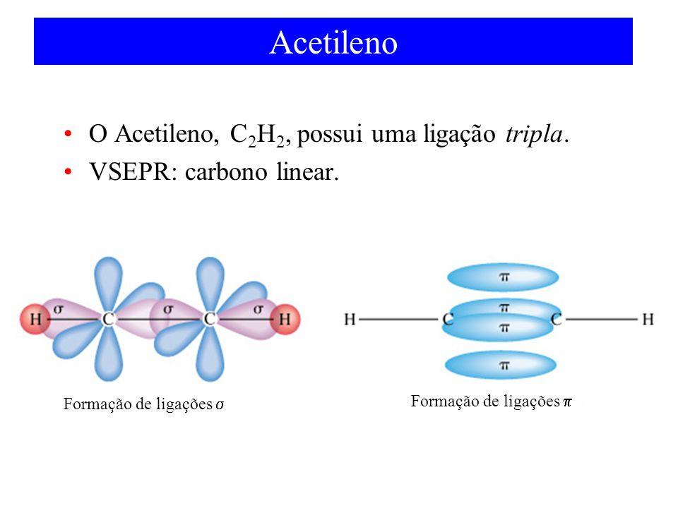 Acetileno O Acetileno, C 2 H 2, possui uma ligação tripla. VSEPR: carbono linear. Formação de ligações