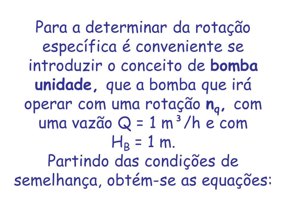 Para a determinar da rotação específica é conveniente se introduzir o conceito de bomba unidade, que a bomba que irá operar com uma rotação n q, com u