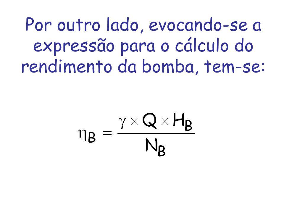 Observe-se que a equação (III) utiliza a vazão, a carga e a rotação de duas bombas pertencentes a uma mesma família, na condição especial de semelhança completa.