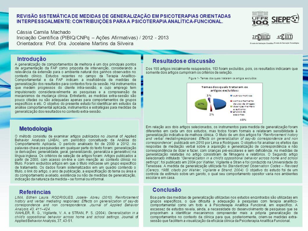 REVISÃO SISTEMÁTICA DE MEDIDAS DE GENERALIZAÇÃO EM PSICOTERAPIAS ORIENTADAS INTERPESSOALMENTE: CONTRIBUIÇÕES PARA A PSICOTERAPIA ANALÍTICA-FUNCIONAL.