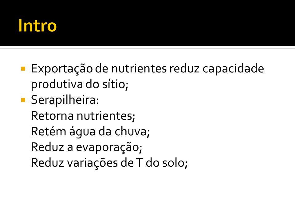 Exportação de nutrientes reduz capacidade produtiva do sítio; Serapilheira: Retorna nutrientes; Retém água da chuva; Reduz a evaporação; Reduz variações de T do solo;