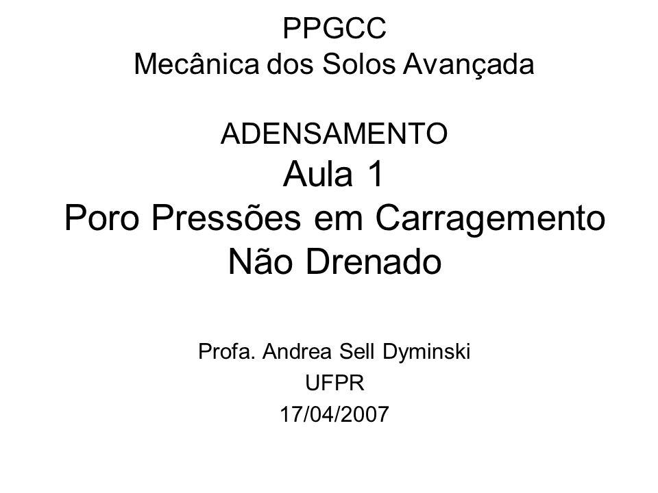 PPGCC Mecânica dos Solos Avançada ADENSAMENTO Aula 1 Poro Pressões em Carragemento Não Drenado Profa. Andrea Sell Dyminski UFPR 17/04/2007
