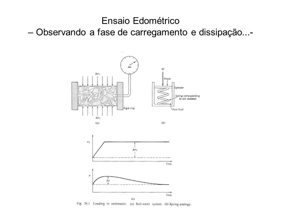 Ensaio Edométrico – Observando a fase de carregamento e dissipação...-