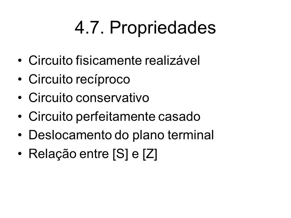 4.7. Propriedades Circuito fisicamente realizável Circuito recíproco Circuito conservativo Circuito perfeitamente casado Deslocamento do plano termina