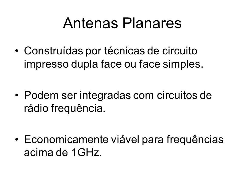 Antenas Planares Construídas por técnicas de circuito impresso dupla face ou face simples.
