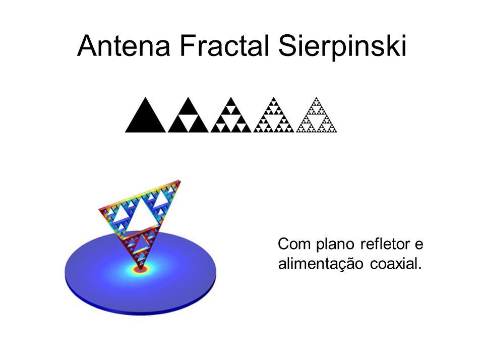 Antena Fractal Sierpinski Com plano refletor e alimentação coaxial.
