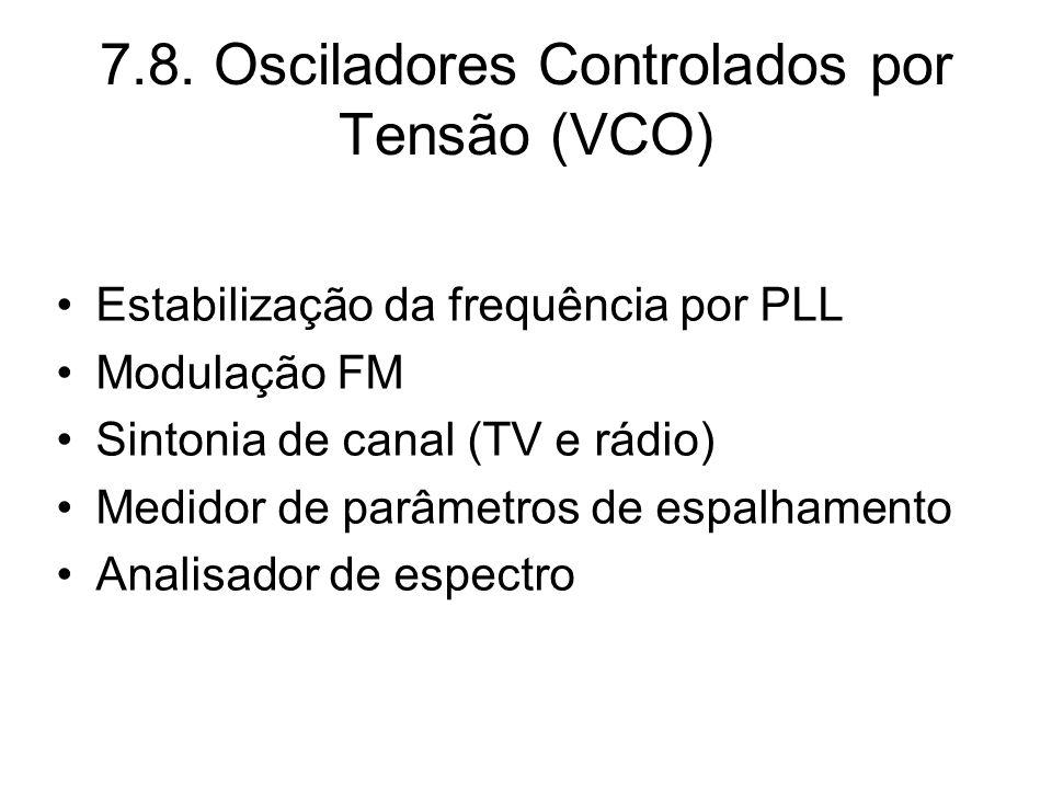7.8. Osciladores Controlados por Tensão (VCO) Estabilização da frequência por PLL Modulação FM Sintonia de canal (TV e rádio) Medidor de parâmetros de
