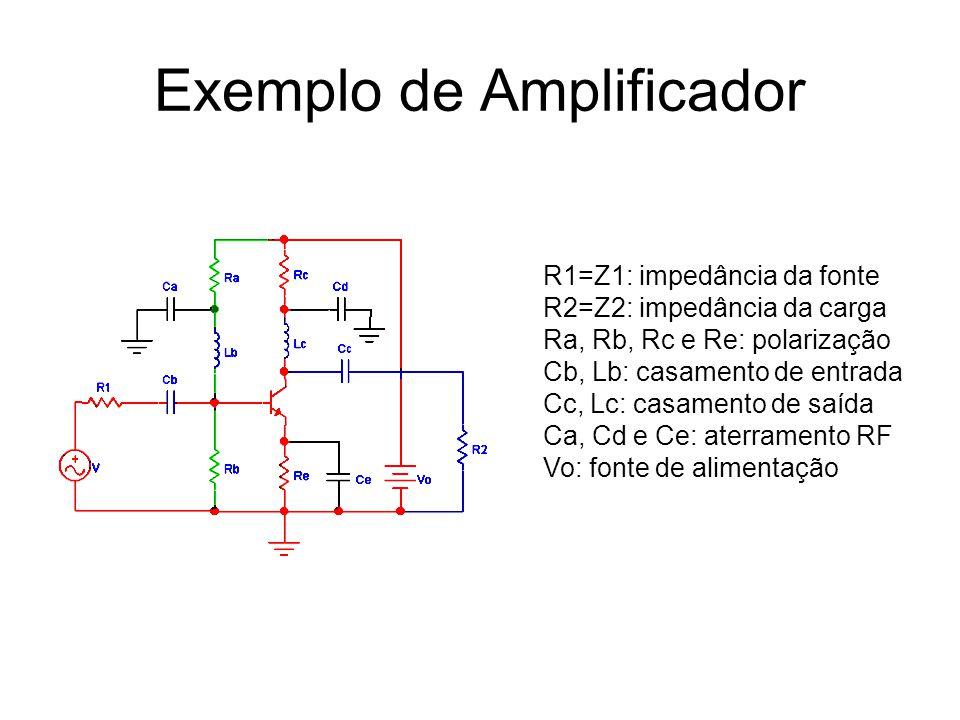 R1=Z1: impedância da fonte R2=Z2: impedância da carga Ra, Rb, Rc e Re: polarização Cb, Lb: casamento de entrada Cc, Lc: casamento de saída Ca, Cd e Ce: aterramento RF Vo: fonte de alimentação
