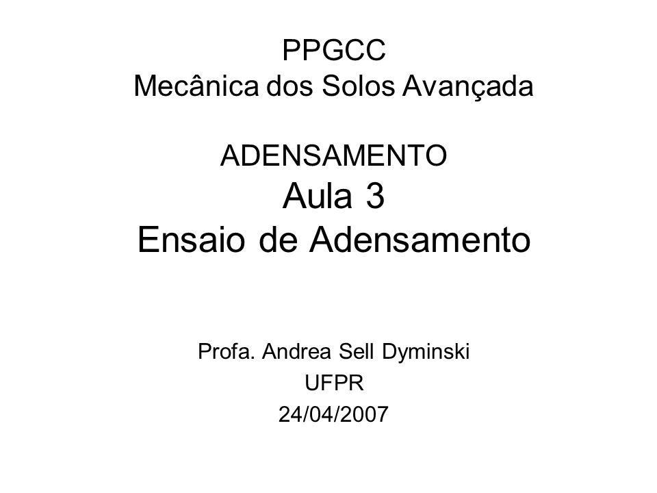 PPGCC Mecânica dos Solos Avançada ADENSAMENTO Aula 3 Ensaio de Adensamento Profa. Andrea Sell Dyminski UFPR 24/04/2007