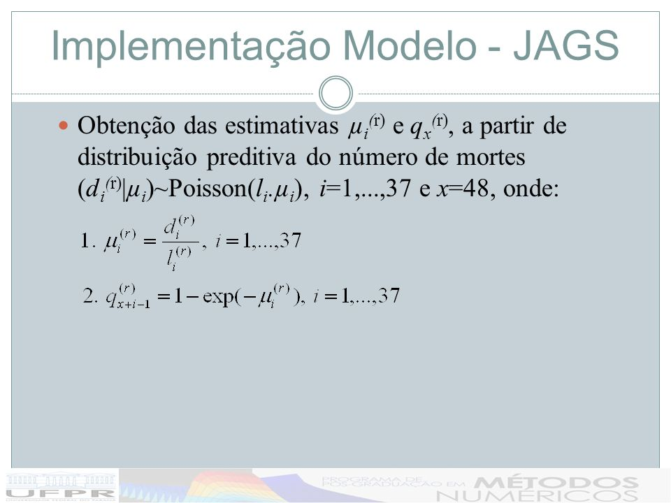Implementação Modelo - JAGS Obtenção das estimativas µ i (r) e q x (r), a partir de distribuição preditiva do número de mortes (d i (r) |µ i )~Poisson