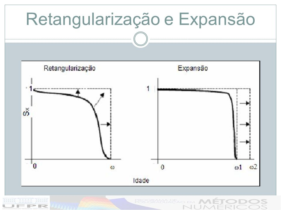 Graduação Taxas de Mortalidade É o processo de suavização das taxas brutas de mortalidade (r x =d x /l x ); Normalmente feito através de modelos (paramétricos) – ajuste de r x ou µ x a um modelo matemático: deMoivre, Gompertz, Makeham e Weibull.