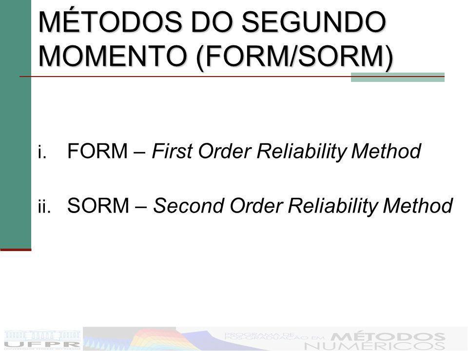 MÉTODOS DO SEGUNDO MOMENTO (FORM/SORM) i. FORM – First Order Reliability Method ii. SORM – Second Order Reliability Method