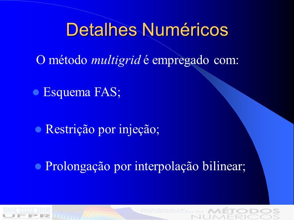 Detalhes Numéricos O método multigrid é empregado com: Esquema FAS; Restrição por injeção; Prolongação por interpolação bilinear;
