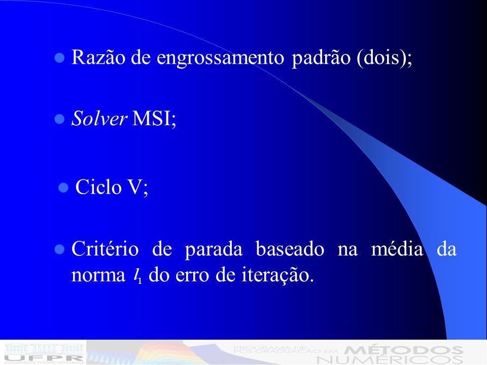 Razão de engrossamento padrão (dois); Solver MSI; Critério de parada baseado na média da norma do erro de iteração.