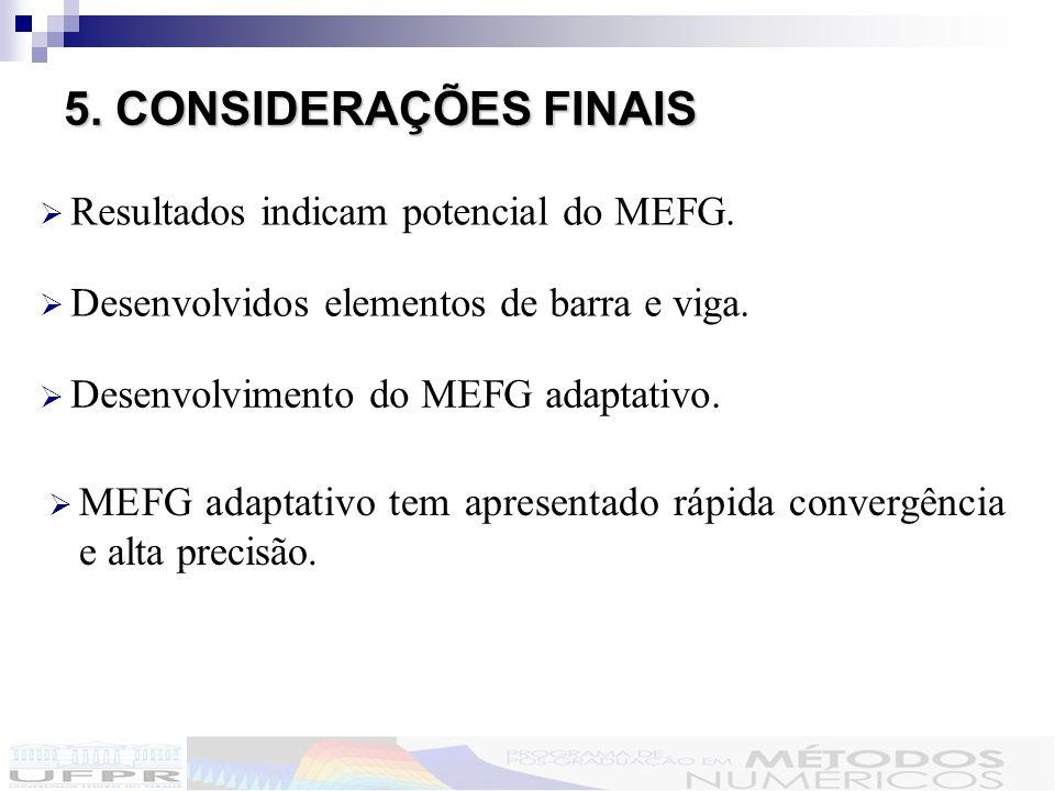 5.CONSIDERAÇÕES FINAIS 5.CONSIDERAÇÕES FINAIS Resultados indicam potencial do MEFG.