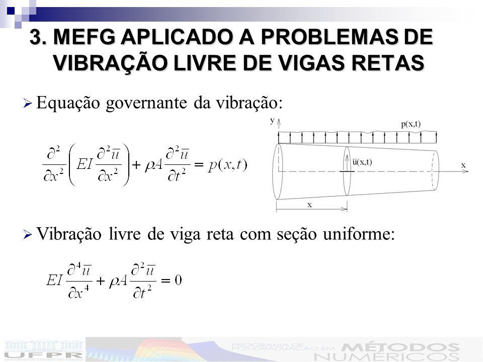 3.MEFG APLICADO A PROBLEMAS DE VIBRAÇÃO LIVRE DE VIGAS RETAS 3.