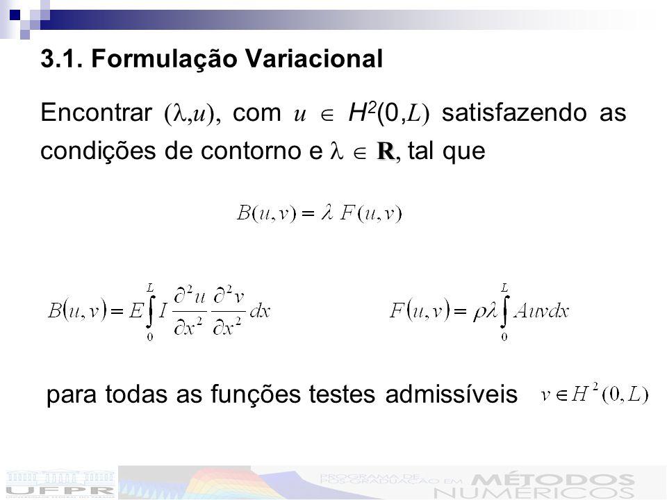 3.1. Formulação Variacional R Encontrar (,u), com u H 2 (0, L) satisfazendo as condições de contorno e R, tal que para todas as funções testes admissí