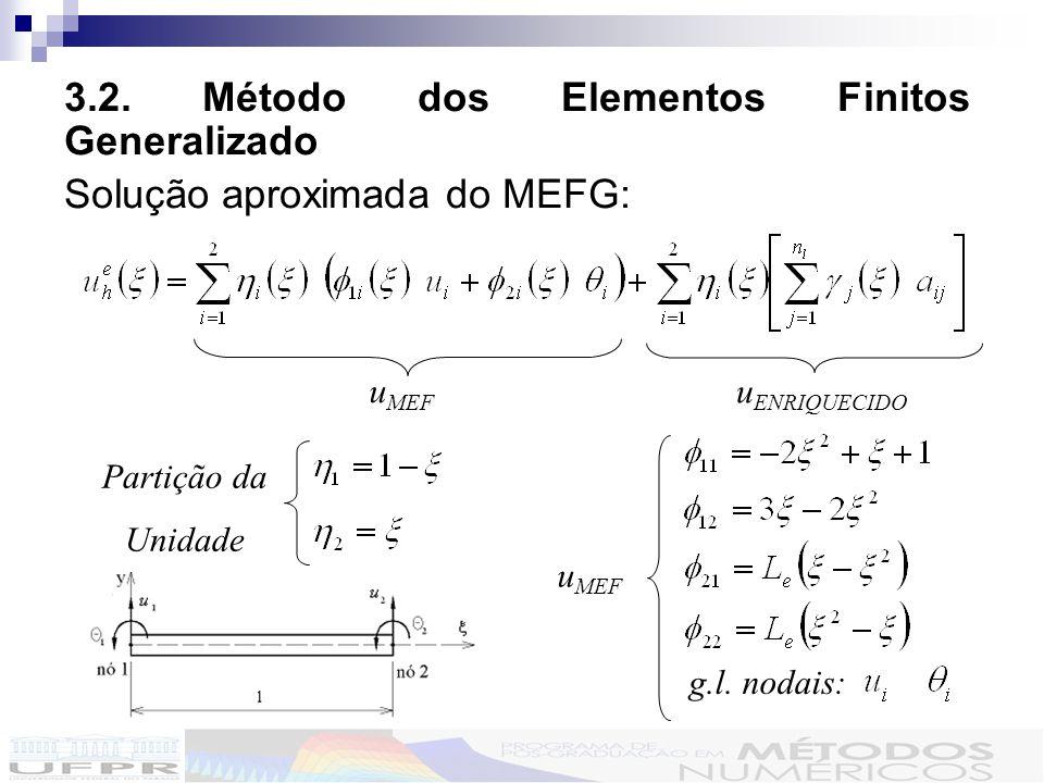 3.2. Método dos Elementos Finitos Generalizado Solução aproximada do MEFG: u MEF u ENRIQUECIDO Partição da Unidade g.l. nodais: u MEF