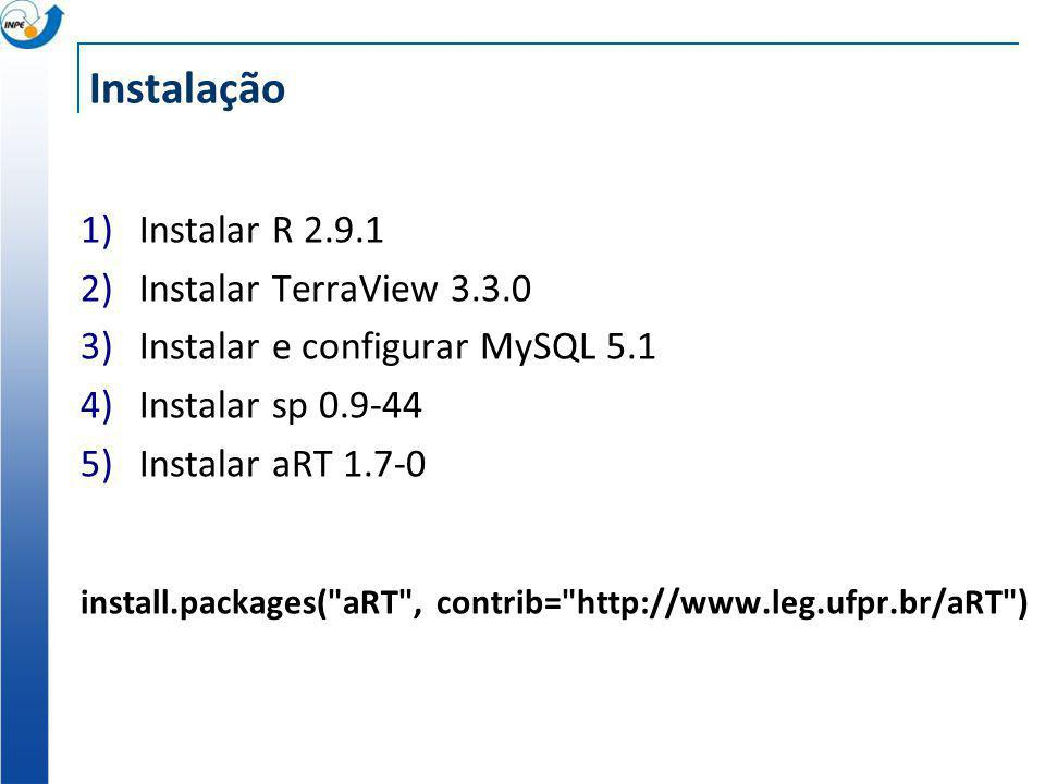 Instalação 1)Instalar R 2.9.1 2)Instalar TerraView 3.3.0 3)Instalar e configurar MySQL 5.1 4)Instalar sp 0.9-44 5)Instalar aRT 1.7-0 install.packages(