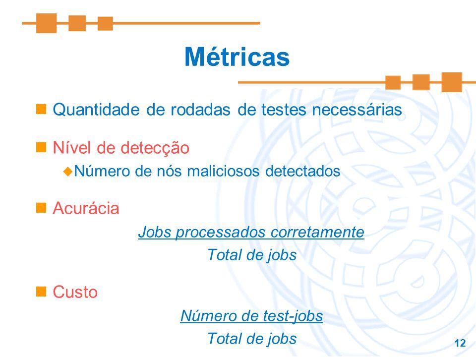 12 Métricas Quantidade de rodadas de testes necessárias Nível de detecção Número de nós maliciosos detectados Acurácia Jobs processados corretamente T