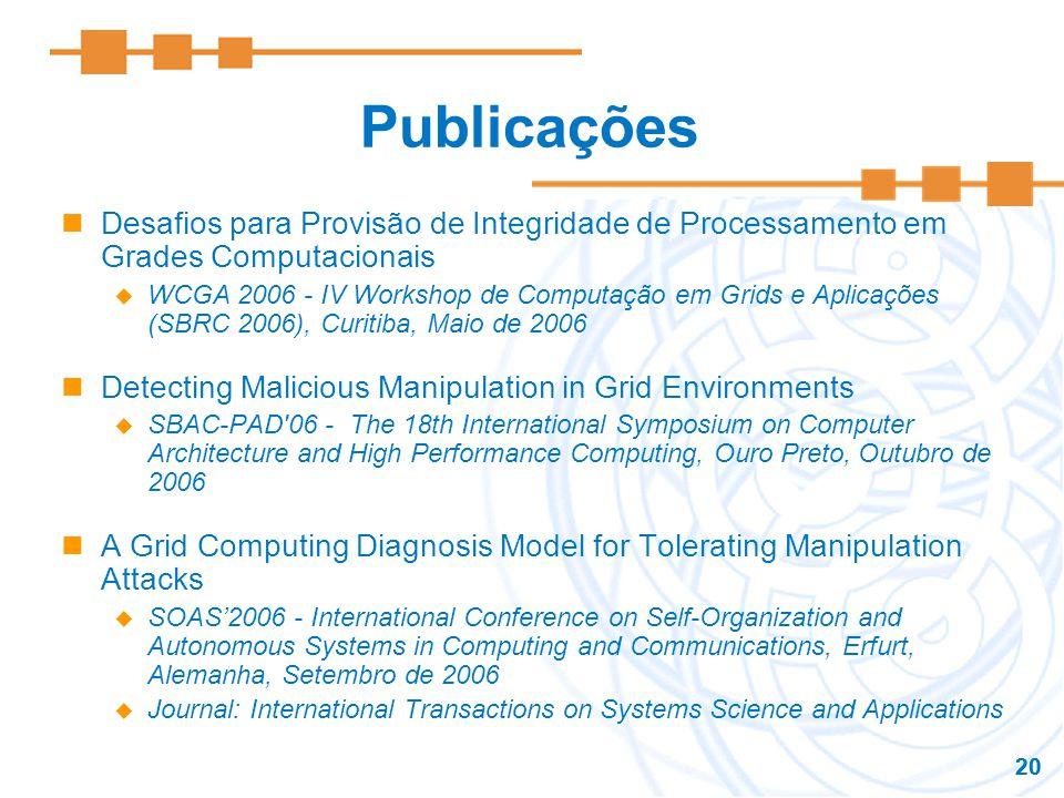 20 Publicações Desafios para Provisão de Integridade de Processamento em Grades Computacionais WCGA 2006 - IV Workshop de Computação em Grids e Aplica