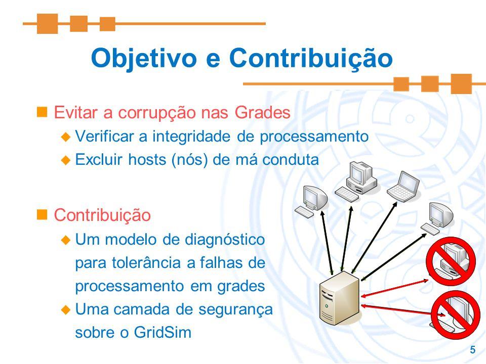 5 Objetivo e Contribuição Evitar a corrupção nas Grades Verificar a integridade de processamento Excluir hosts (nós) de má conduta Contribuição Um mod