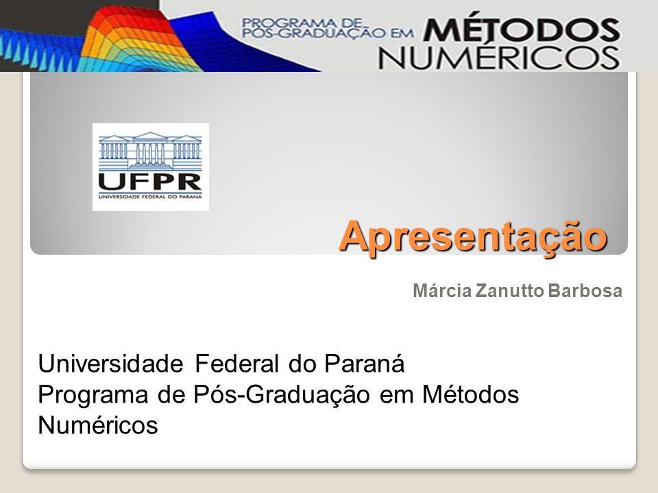 Apresentação Márcia Zanutto Barbosa Universidade Federal do Paraná Programa de Pós-Graduação em Métodos Numéricos