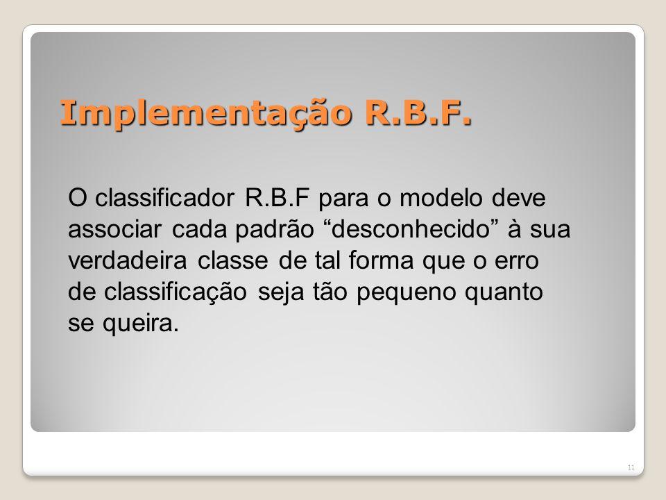 Redes de Base Radial - Treinamento 1º Estágio: O número de funções radiais e seus parâmetros são determinados por métodos não – supervisionados. 2º Es