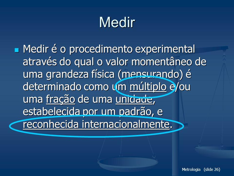 Metrologia (slide 26) Medir Medir é o procedimento experimental através do qual o valor momentâneo de uma grandeza física (mensurando) é determinado como um múltiplo e/ou uma fração de uma unidade, estabelecida por um padrão, e reconhecida internacionalmente.