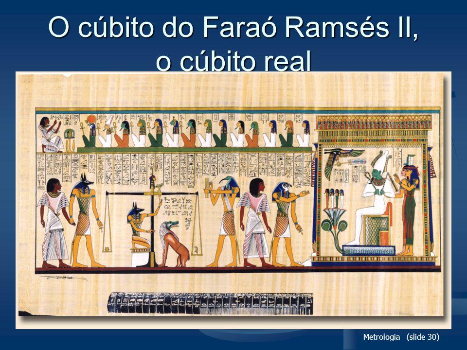 Metrologia (slide 30) O cúbito do Faraó Ramsés II, o cúbito real