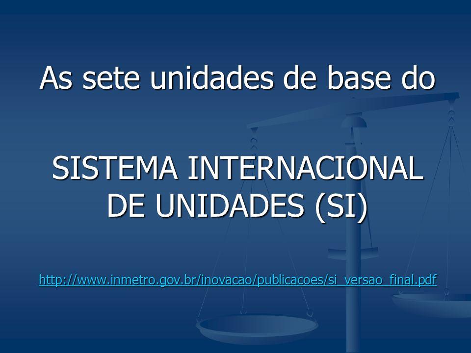 As sete unidades de base do SISTEMA INTERNACIONAL DE UNIDADES (SI) http://www.inmetro.gov.br/inovacao/publicacoes/si_versao_final.pdf