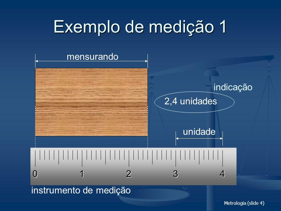 Metrologia (slide 75) Unidades em uso com o SI GrandezaUnidadeSímboloValor nas unidades do SI tempo ângulo volume massa pressão temperatura minuto hora dia grau minuto segundo litro tonelada bar grau Celsius min h d ° l, L t bar °C 1 min = 60 s 1 h = 60 min = 3600 s 1 d = 24 h 1° = ( /180) 1 = (1/60)° = ( /10 800) rad 1 = (1/60) = ( /648 000) rad 1 L = 1 dm 3 = 10 -3 m 3 1 t = 10 3 kg 1 bar = 10 5 Pa °C = K - 273,16
