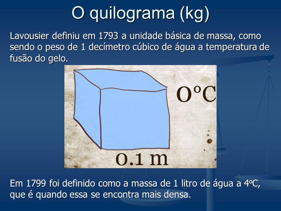 O quilograma (kg) Lavousier definiu em 1793 a unidade básica de massa, como sendo o peso de 1 decímetro cúbico de água a temperatura de fusão do gelo.
