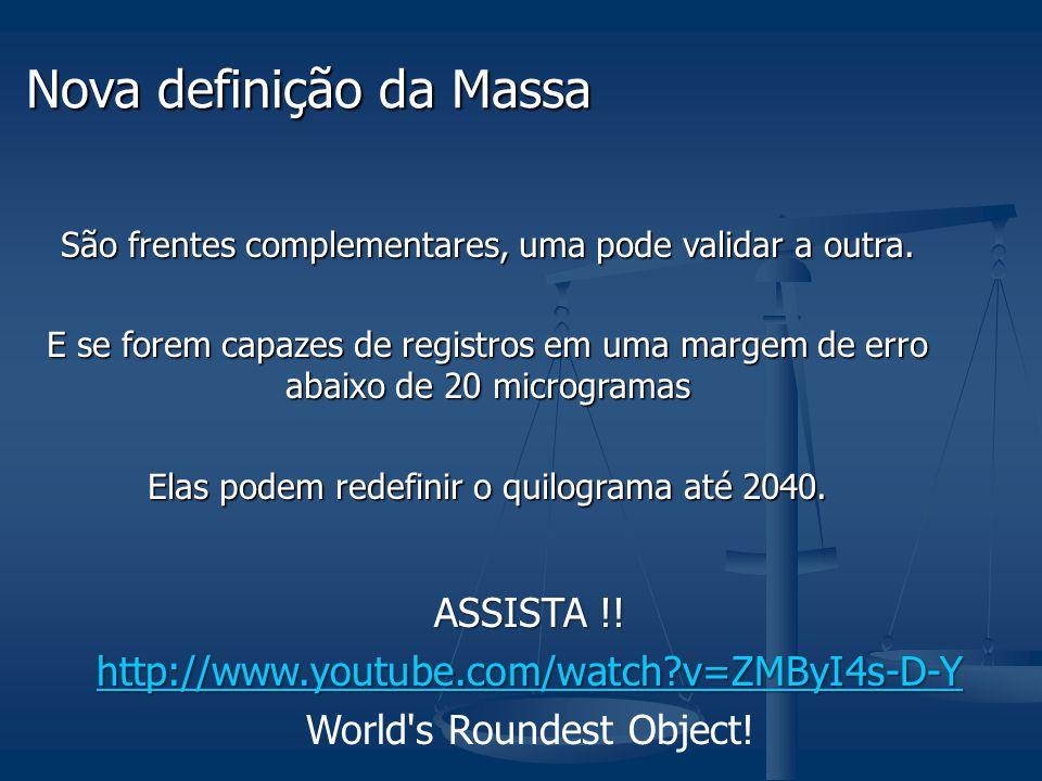 Nova definição da Massa São frentes complementares, uma pode validar a outra.