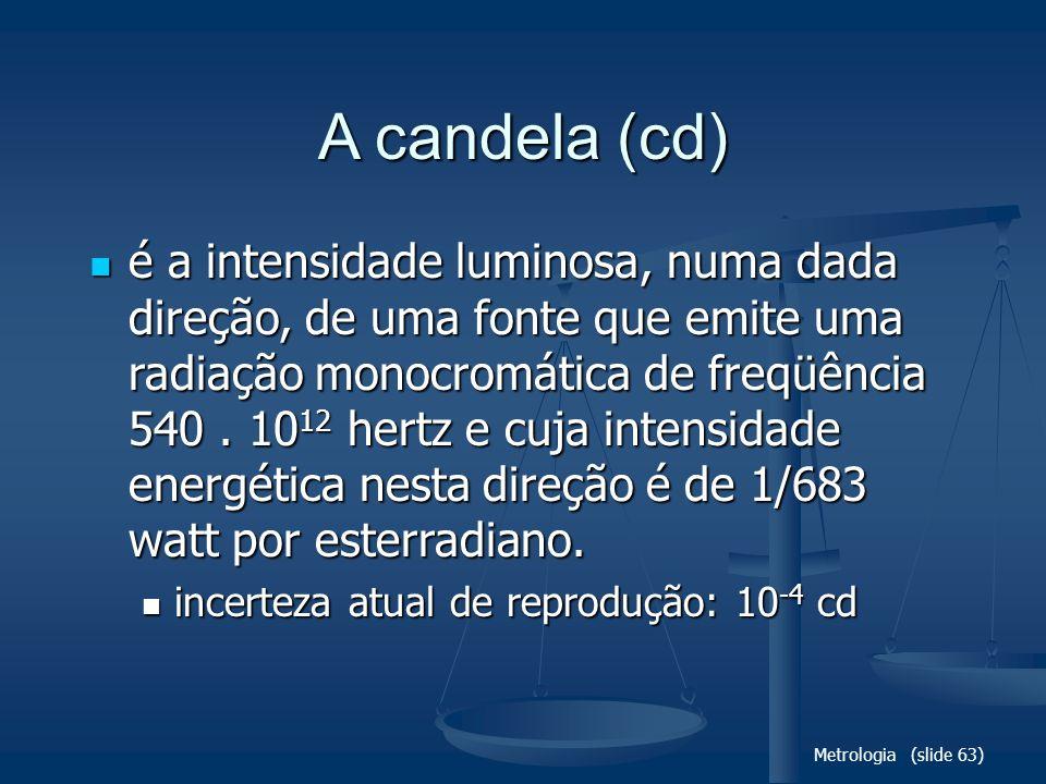 Metrologia (slide 63) A candela (cd) é a intensidade luminosa, numa dada direção, de uma fonte que emite uma radiação monocromática de freqüência 540.