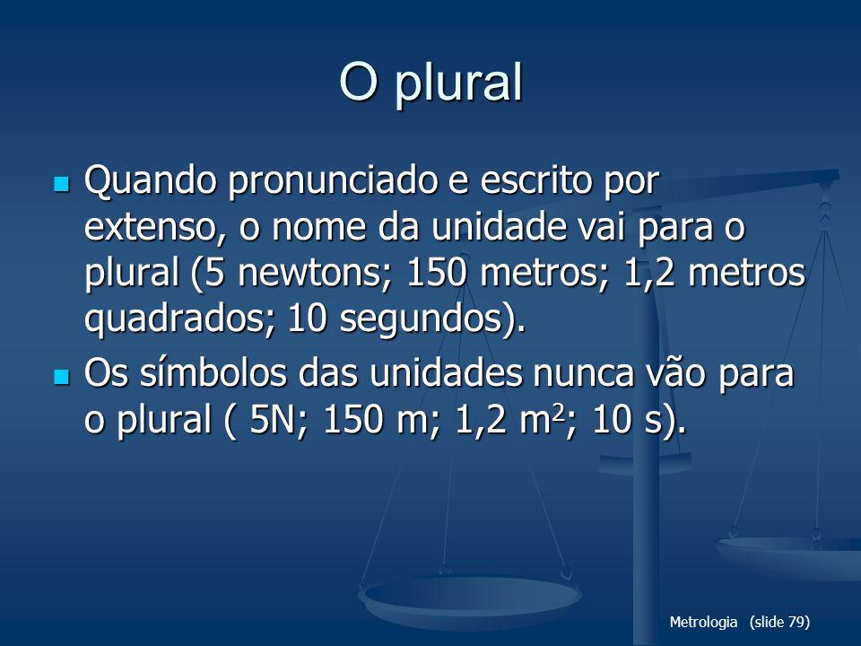 Metrologia (slide 79) O plural Quando pronunciado e escrito por extenso, o nome da unidade vai para o plural (5 newtons; 150 metros; 1,2 metros quadrados; 10 segundos).